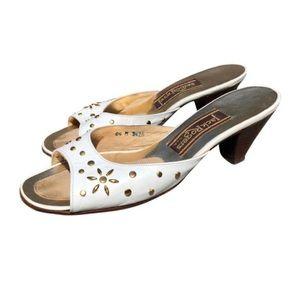 JACK ROGERS Vintage white leather mule heels 6.5
